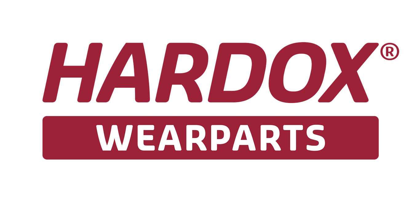 Hardox wearparts logo in burgundy on a transparent background.
