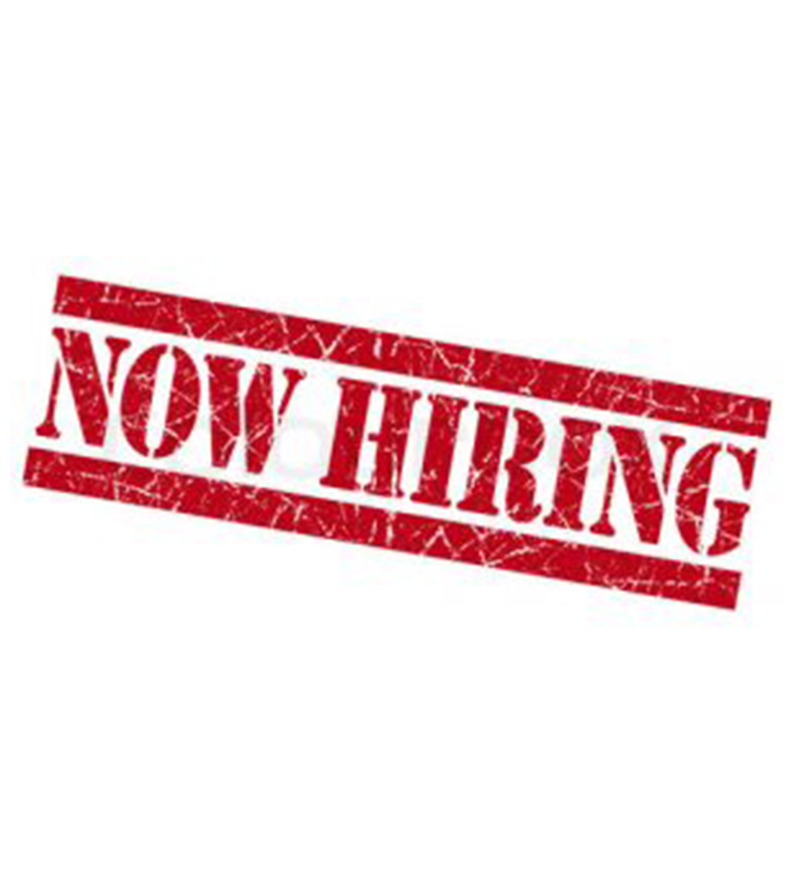 Now hiring banner in red and all caps.